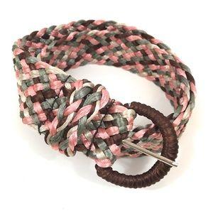 "Accessories - Pink Brown Green Braided Woven Belt 42"" Adjustable"